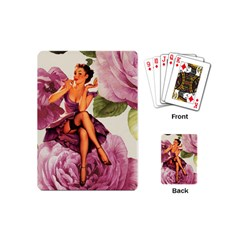 Cute Purple Dress Pin Up Girl Pink Rose Floral Art Playing Cards (Mini)