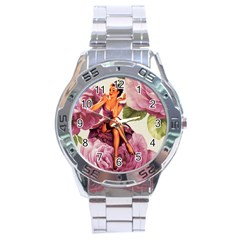 Cute Purple Dress Pin Up Girl Pink Rose Floral Art Stainless Steel Watch (Men s)