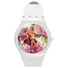 Cute Purple Dress Pin Up Girl Pink Rose Floral Art Plastic Sport Watch (medium)