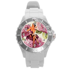 Cute Purple Dress Pin Up Girl Pink Rose Floral Art Plastic Sport Watch (Large)