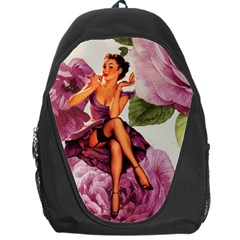 Cute Purple Dress Pin Up Girl Pink Rose Floral Art Backpack Bag