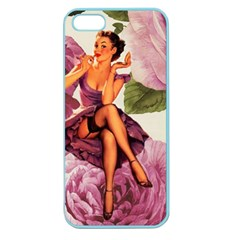 Cute Purple Dress Pin Up Girl Pink Rose Floral Art Apple Seamless iPhone 5 Case (Color)