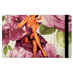 Cute Purple Dress Pin Up Girl Pink Rose Floral Art Apple iPad 3/4 Flip Case