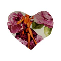 Cute Purple Dress Pin Up Girl Pink Rose Floral Art 16  Premium Heart Shape Cushion