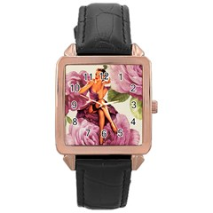 Cute Purple Dress Pin Up Girl Pink Rose Floral Art Rose Gold Leather Watch
