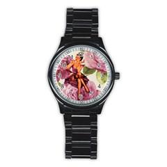 Cute Purple Dress Pin Up Girl Pink Rose Floral Art Sport Metal Watch (Black)