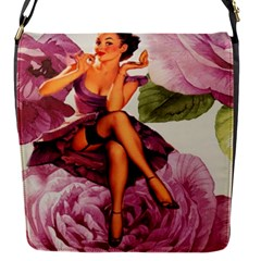 Cute Purple Dress Pin Up Girl Pink Rose Floral Art Removable Flap Cover (Small)