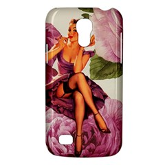Cute Purple Dress Pin Up Girl Pink Rose Floral Art Samsung Galaxy S4 Mini Hardshell Case