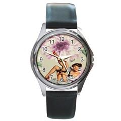 Gil Elvgren Pin Up Girl Purple Flower Fashion Art Round Metal Watch (Silver Rim)