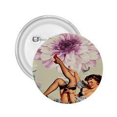 Gil Elvgren Pin Up Girl Purple Flower Fashion Art 2.25  Button