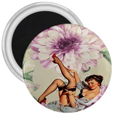 Gil Elvgren Pin Up Girl Purple Flower Fashion Art 3  Button Magnet