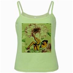 Gil Elvgren Pin Up Girl Purple Flower Fashion Art Green Spaghetti Tank
