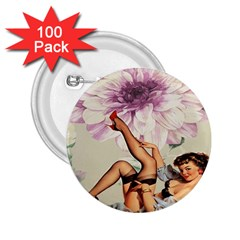Gil Elvgren Pin Up Girl Purple Flower Fashion Art 2.25  Button (100 pack)