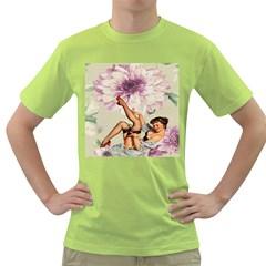 Gil Elvgren Pin Up Girl Purple Flower Fashion Art Mens  T-shirt (Green)