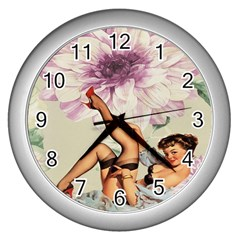 Gil Elvgren Pin Up Girl Purple Flower Fashion Art Wall Clock (Silver)