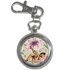 Gil Elvgren Pin Up Girl Purple Flower Fashion Art Key Chain & Watch