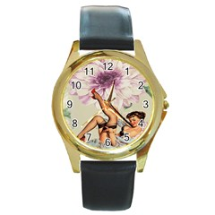Gil Elvgren Pin Up Girl Purple Flower Fashion Art Round Metal Watch (Gold Rim)