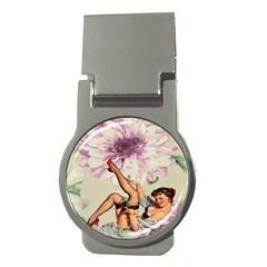 Gil Elvgren Pin Up Girl Purple Flower Fashion Art Money Clip (Round)