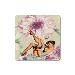 Gil Elvgren Pin Up Girl Purple Flower Fashion Art Magnet (square)