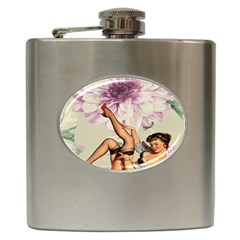 Gil Elvgren Pin Up Girl Purple Flower Fashion Art Hip Flask