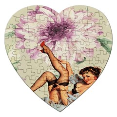 Gil Elvgren Pin Up Girl Purple Flower Fashion Art Jigsaw Puzzle (Heart)