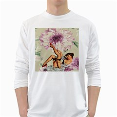 Gil Elvgren Pin Up Girl Purple Flower Fashion Art Mens' Long Sleeve T-shirt (White)