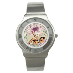 Gil Elvgren Pin Up Girl Purple Flower Fashion Art Stainless Steel Watch (Unisex)