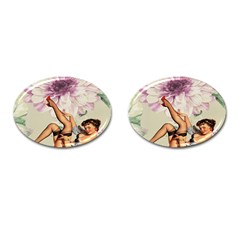Gil Elvgren Pin Up Girl Purple Flower Fashion Art Cufflinks (Oval)