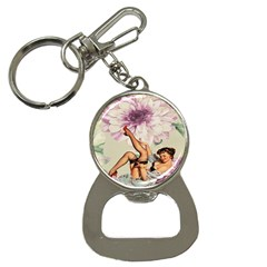 Gil Elvgren Pin Up Girl Purple Flower Fashion Art Bottle Opener Key Chain