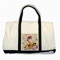 Gil Elvgren Pin Up Girl Purple Flower Fashion Art Two Toned Tote Bag