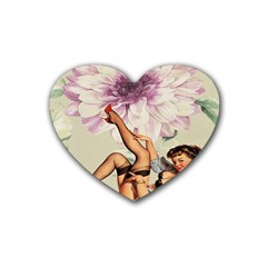 Gil Elvgren Pin Up Girl Purple Flower Fashion Art Drink Coasters (heart)