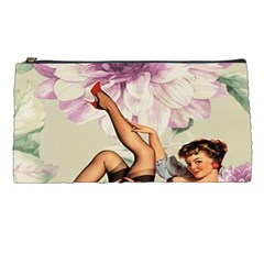 Gil Elvgren Pin Up Girl Purple Flower Fashion Art Pencil Case