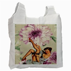 Gil Elvgren Pin Up Girl Purple Flower Fashion Art Recycle Bag (Two Sides)