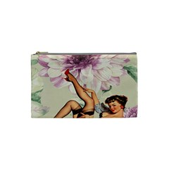 Gil Elvgren Pin Up Girl Purple Flower Fashion Art Cosmetic Bag (small)