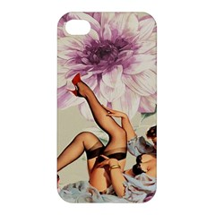 Gil Elvgren Pin Up Girl Purple Flower Fashion Art Apple Iphone 4/4s Premium Hardshell Case