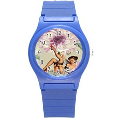 Gil Elvgren Pin Up Girl Purple Flower Fashion Art Plastic Sport Watch (Small)
