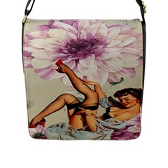 Gil Elvgren Pin Up Girl Purple Flower Fashion Art Flap Closure Messenger Bag (Large)