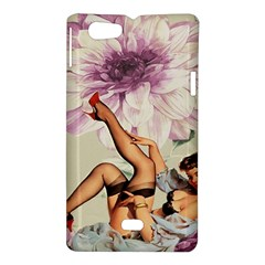Gil Elvgren Pin Up Girl Purple Flower Fashion Art Sony Xperia Miro Hardshell Case