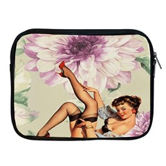 Gil Elvgren Pin Up Girl Purple Flower Fashion Art Apple iPad 2/3/4 Zipper Case