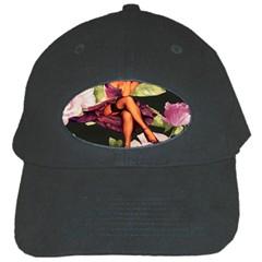 Cute Gil Elvgren Purple Dress Pin Up Girl Pink Rose Floral Art Black Baseball Cap