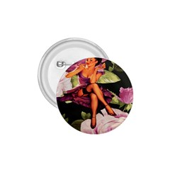 Cute Gil Elvgren Purple Dress Pin Up Girl Pink Rose Floral Art 1.75  Button