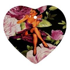 Cute Gil Elvgren Purple Dress Pin Up Girl Pink Rose Floral Art Heart Ornament