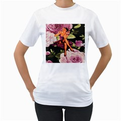 Cute Gil Elvgren Purple Dress Pin Up Girl Pink Rose Floral Art Womens  T-shirt (White)