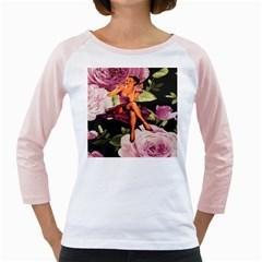 Cute Gil Elvgren Purple Dress Pin Up Girl Pink Rose Floral Art Womens  Long Sleeve Raglan T-shirt (White)