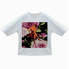 Cute Gil Elvgren Purple Dress Pin Up Girl Pink Rose Floral Art Baby T-shirt