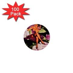 Cute Gil Elvgren Purple Dress Pin Up Girl Pink Rose Floral Art 1  Mini Button (100 pack)