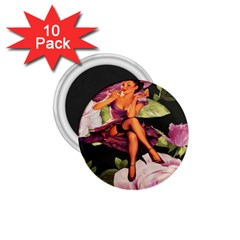 Cute Gil Elvgren Purple Dress Pin Up Girl Pink Rose Floral Art 1.75  Button Magnet (10 pack)