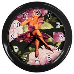 Cute Gil Elvgren Purple Dress Pin Up Girl Pink Rose Floral Art Wall Clock (Black)