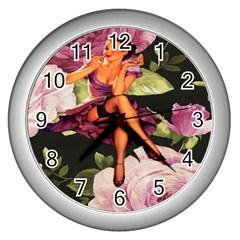 Cute Gil Elvgren Purple Dress Pin Up Girl Pink Rose Floral Art Wall Clock (Silver)