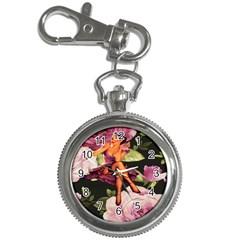 Cute Gil Elvgren Purple Dress Pin Up Girl Pink Rose Floral Art Key Chain & Watch